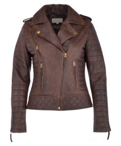 Womens Brown Biker Leather Jacket