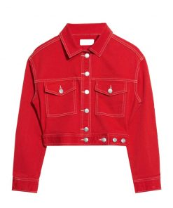 Womens Red Denim Jacket