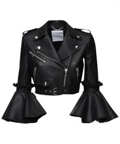 Womens Stylish Cropped Black Leather Jacket