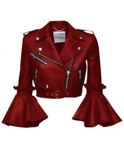Womens Stylish Cropped Leather Jacket