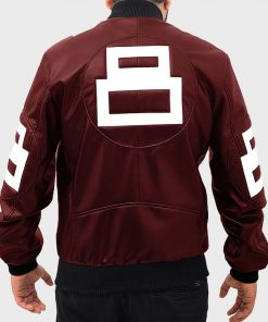8 Ball Maroon Bomber Jacket