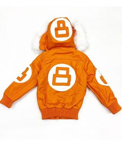 8 Ball Orange Fur Hooded Jacket