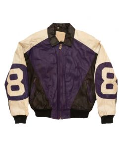 8 Ball Purple and Black Leather Jacket