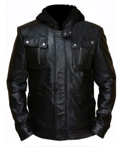 Brando Black Hooded Leather Jacket