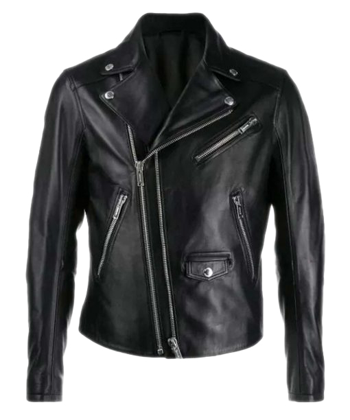 Men Biker Black Leather Jacket