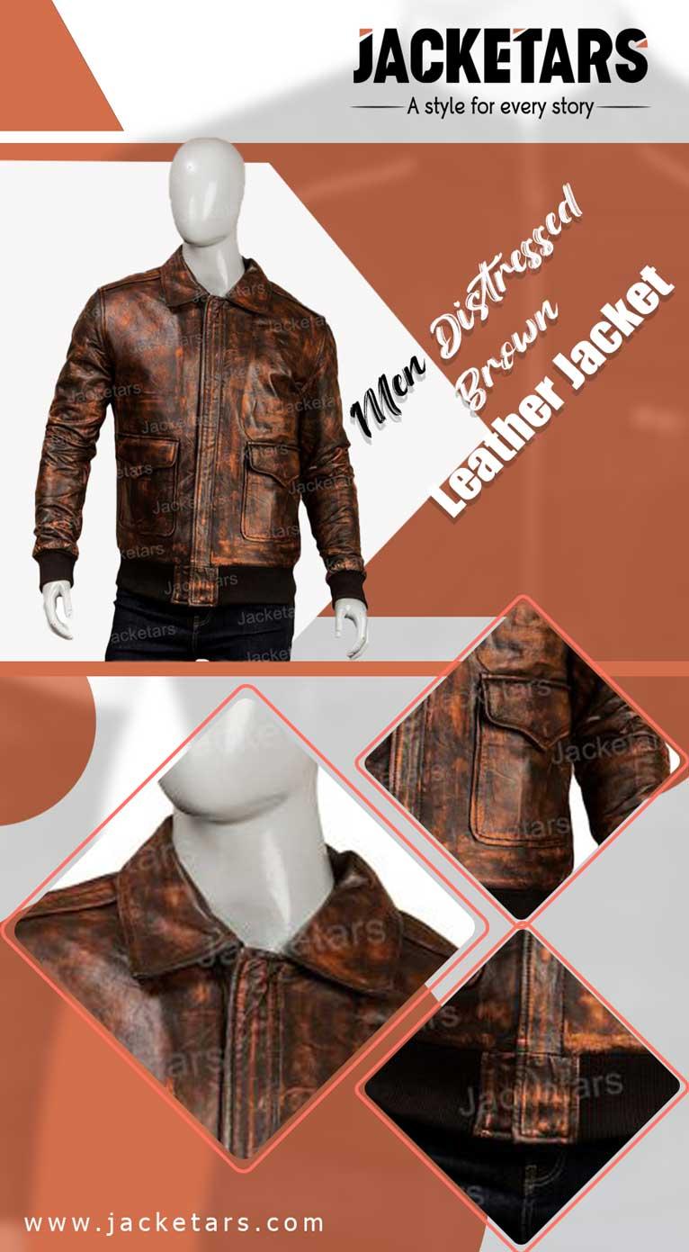Men Distressed Brown Leather Jacket cafe racer jacket info
