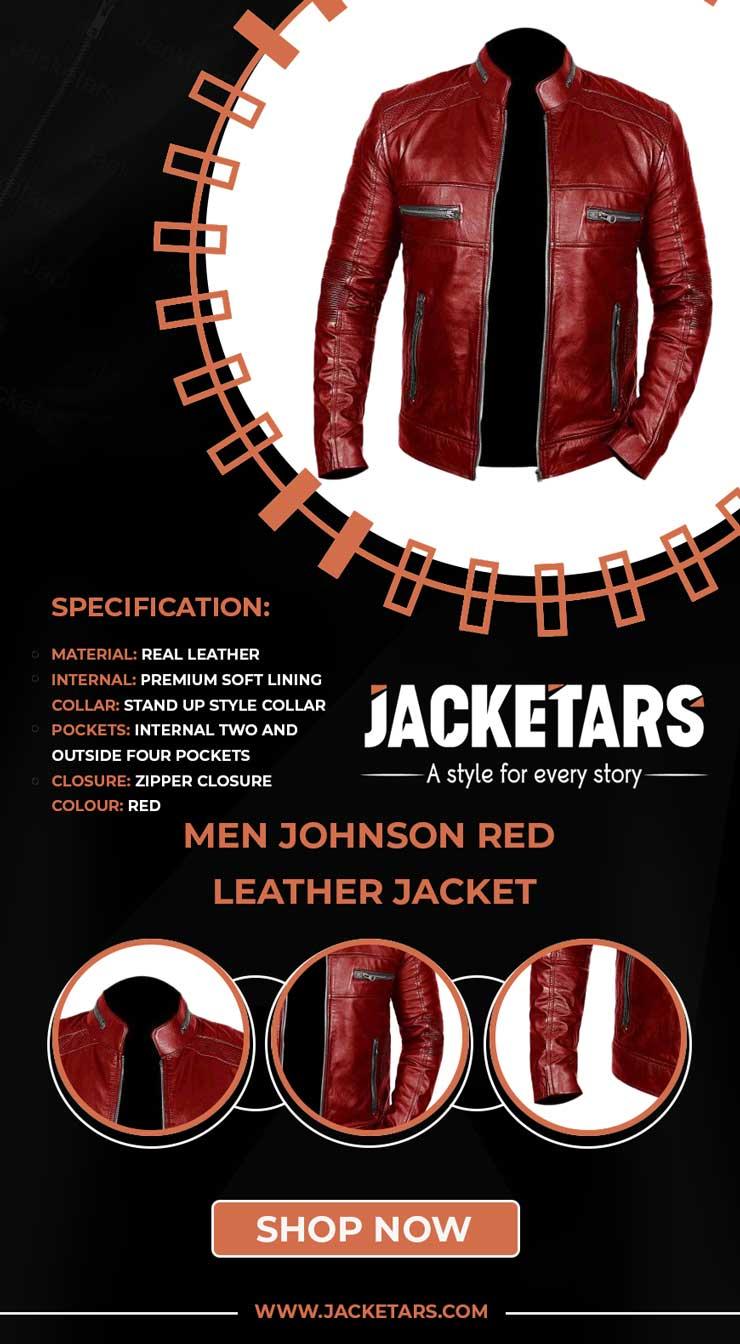 Men Johnson Red Leather Jacket cafe racer jacket info