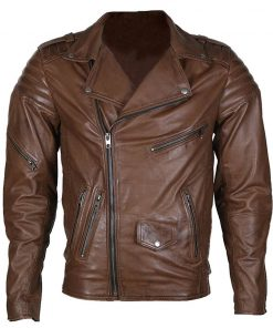 Mens Brown Biker Leather Jacket