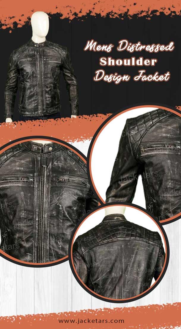 Mens Distressed Shoulder Design Jacket Info
