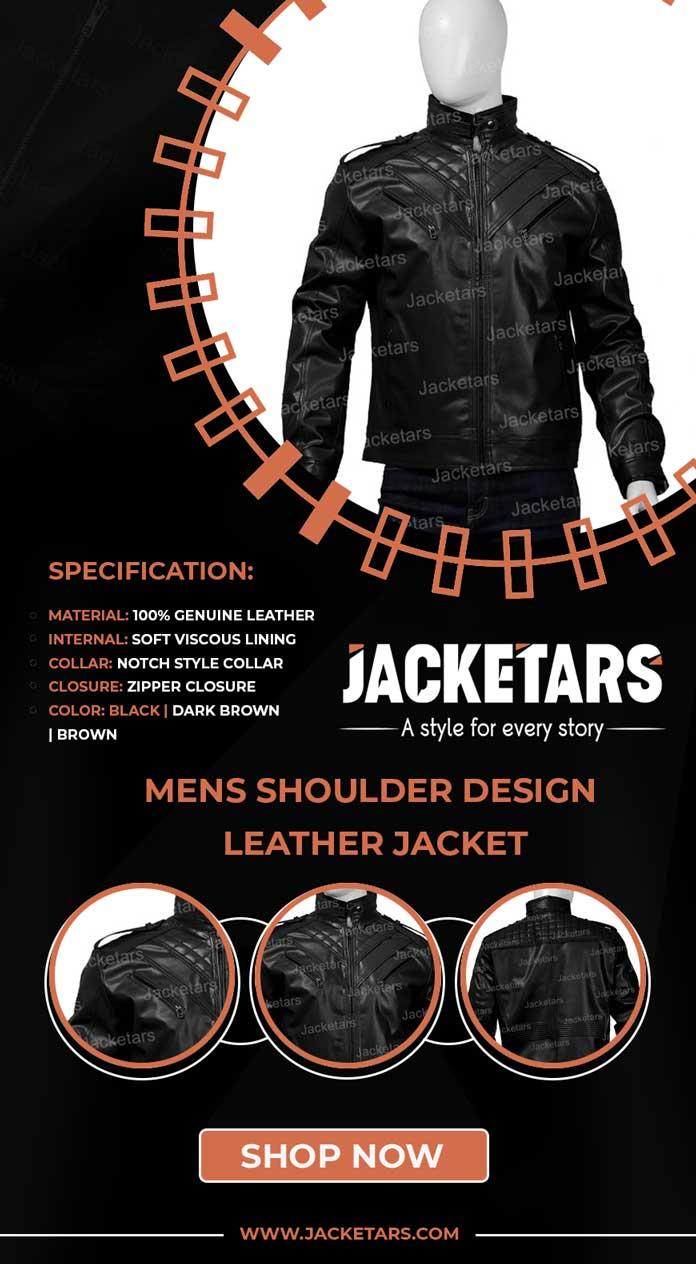 Mens Shoulder Design Leather Jacket Info