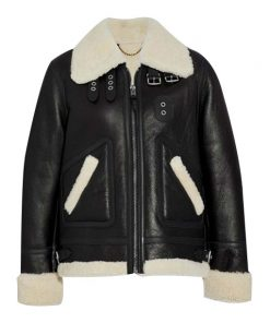 Womens Aviator Shearling Leather Jacket