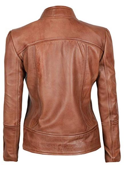 Womens Biker Leather Brown Jacket