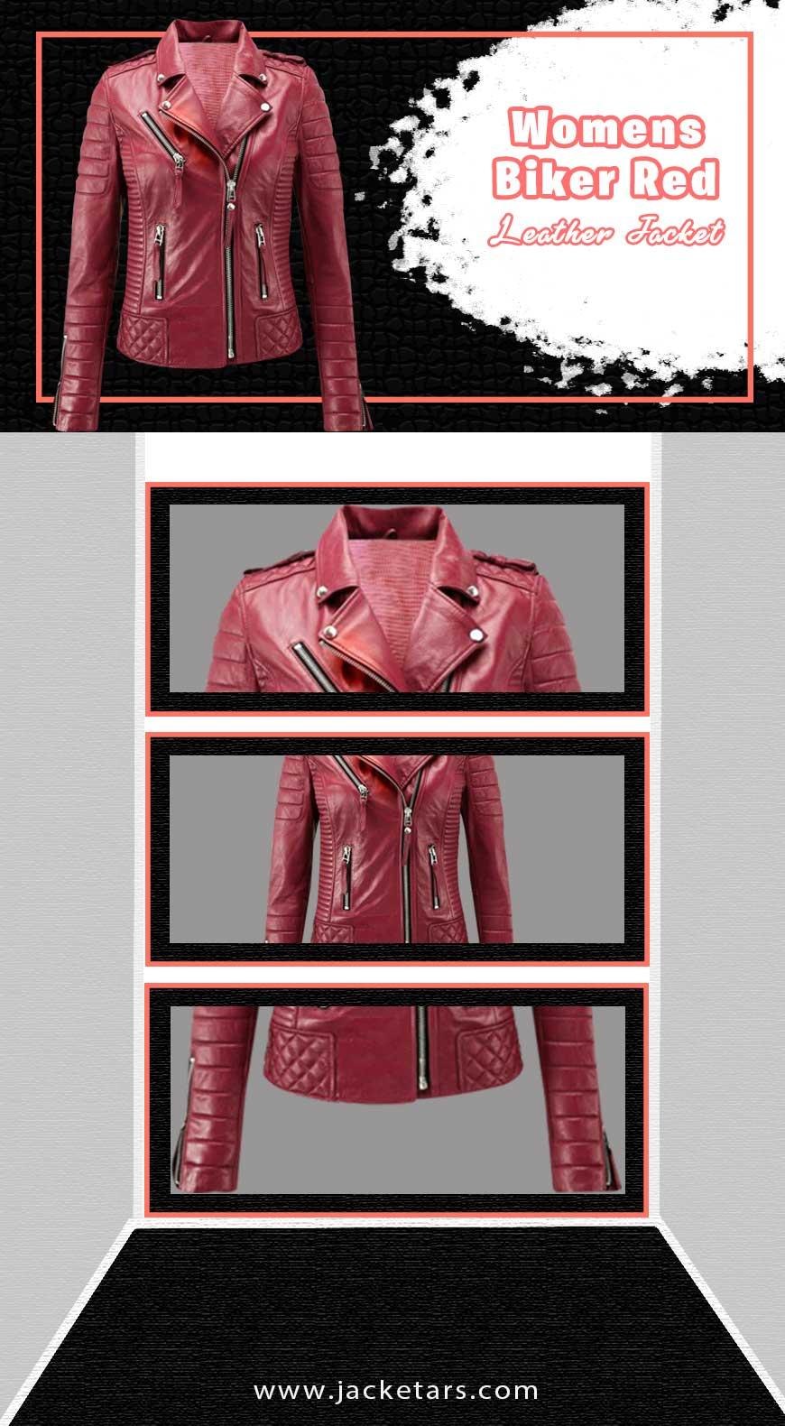 Womens Biker Red Leather Jacket info