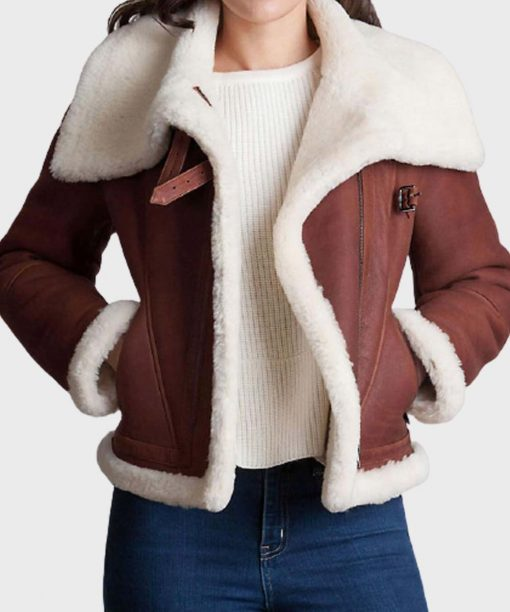 Womens Brown Fur Leather Jacket