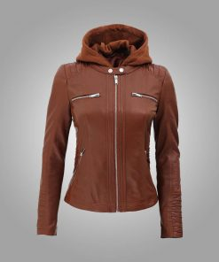 Womens Cafe Racer Brown Leather Jacket