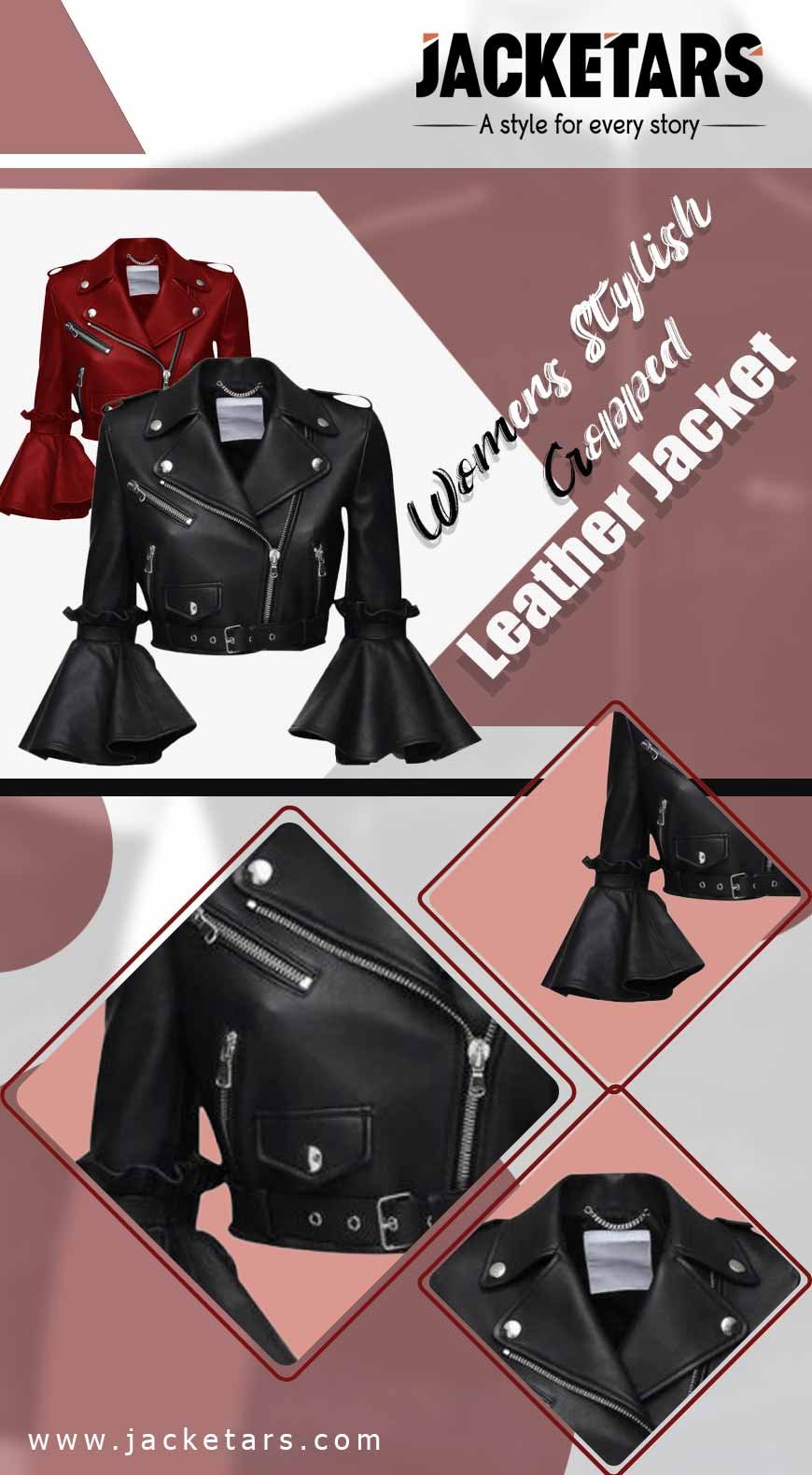 Womens Stylish Cropped Leather Jacket Info