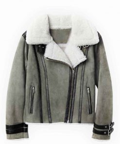 Asymmetrical Shearling Grey Leather Jacket