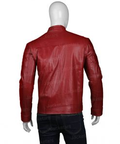 Biker Red Leather Cafe Racer Jacket