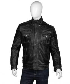 Cafe Racer Distressed Black Leather Jacket