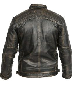 Cafe Racer Retro Motorcycle Brown Leather Jacket
