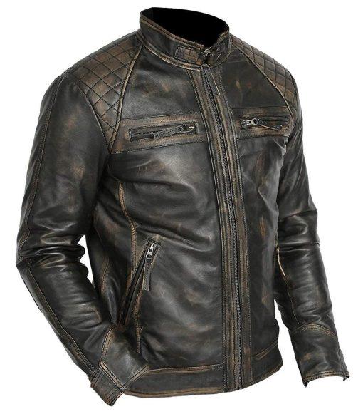 Cafe Racer Retro Motorcycle Leather Jacket