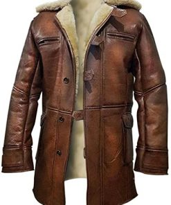 Dark Knight Rises Batman Tom Hardy Shearling Coat