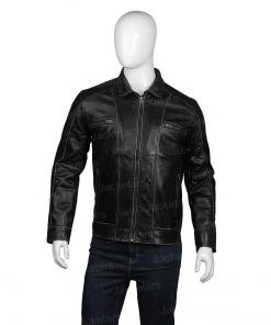 Men Casual Black Leather Jacket