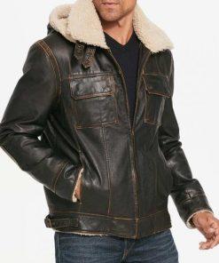 Mens Aviator Brown Hooded Jacket