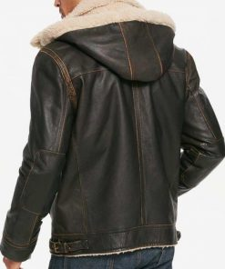 Mens Aviator Brown Hooded Leather Jacket