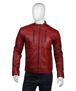 Mens Biker Red Leather Cafe Racer Jacket