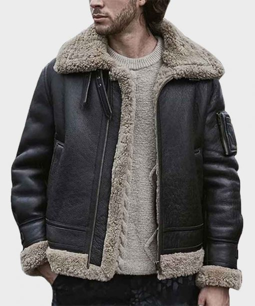 Mens Black Sheepskin Shearling Jacket