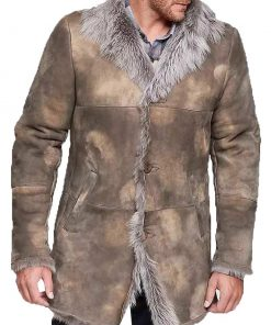 Mens Distressed Shearling Leather Coat
