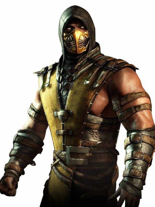 Mortal Kombat Scorpion Leather Hooded Jacket