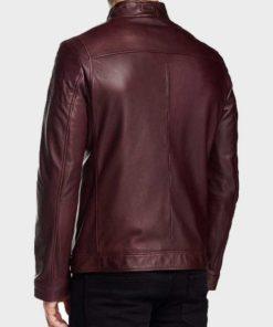 Oliver Arrow Maroon Leather Jacket