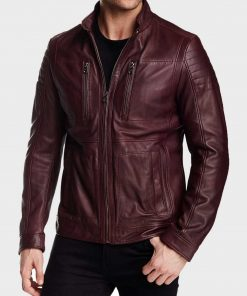 Oliver Maroon Leather Jacket