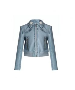 Paris Buckingham Blue Leather Jacket