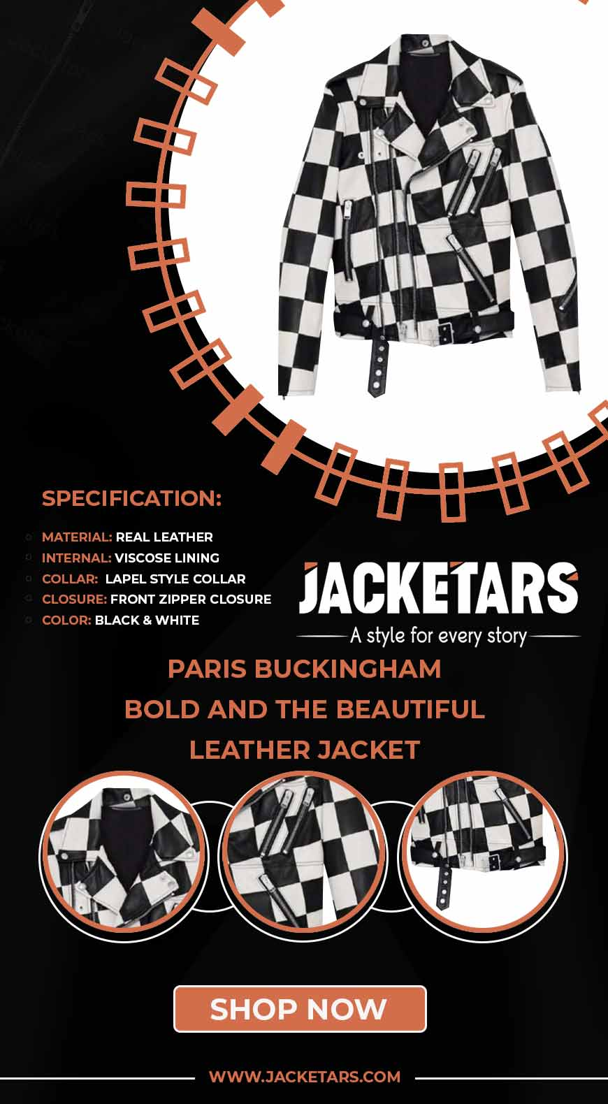 Paris Buckingham Bold and the Beautiful Leather Jacket info