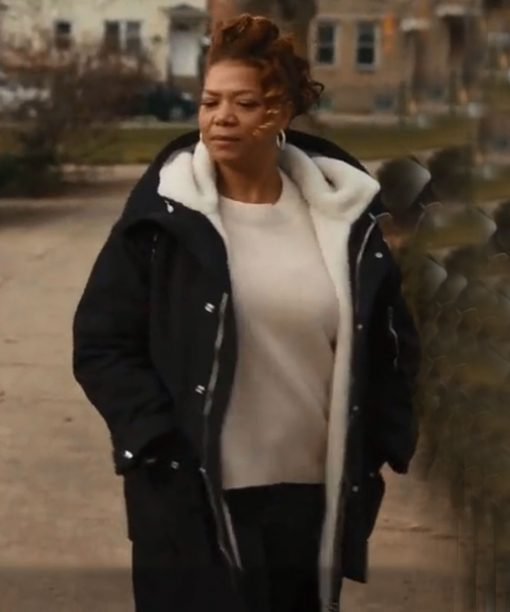Queen Latifah The Equalizer Black Shearling Coat