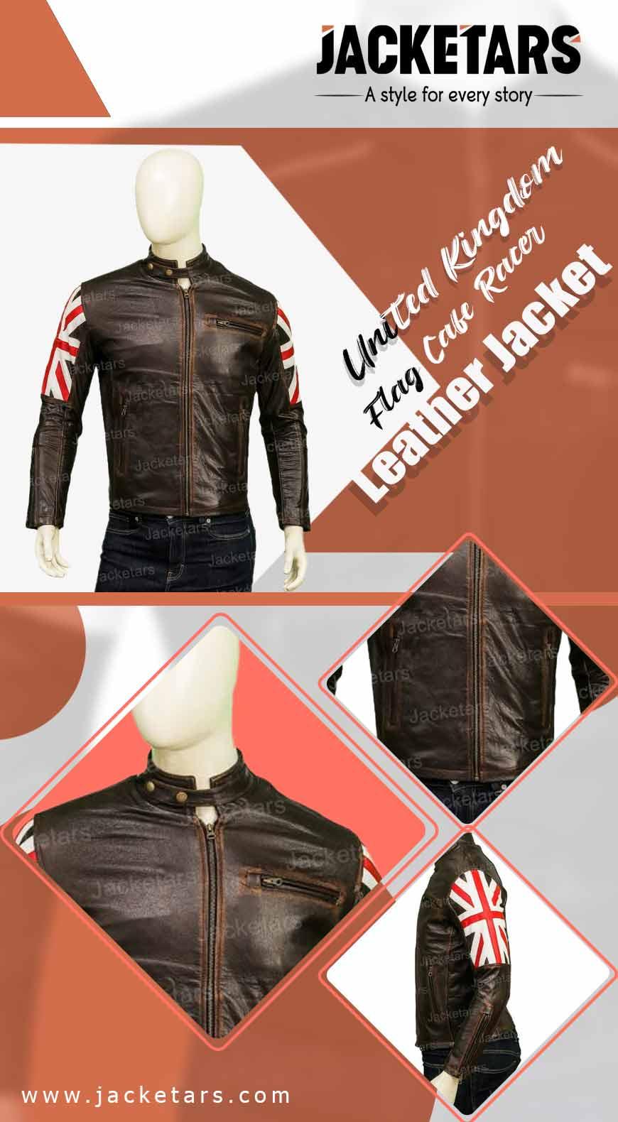 cUnited Kingdom Flag Cafe Racer Leather Jacket info