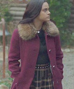 Veronica Lodge Maroon Fur Coat