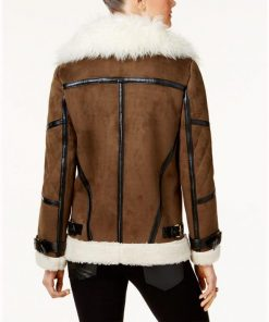 Womens Asymmetrical Brown Shearling Leather Jacket
