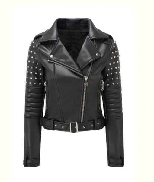 Womens Black Studded Biker Jacket