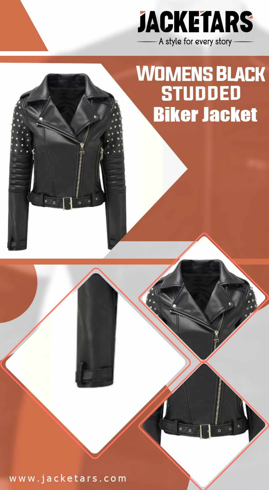 Womens Black Studded Biker Jacket info