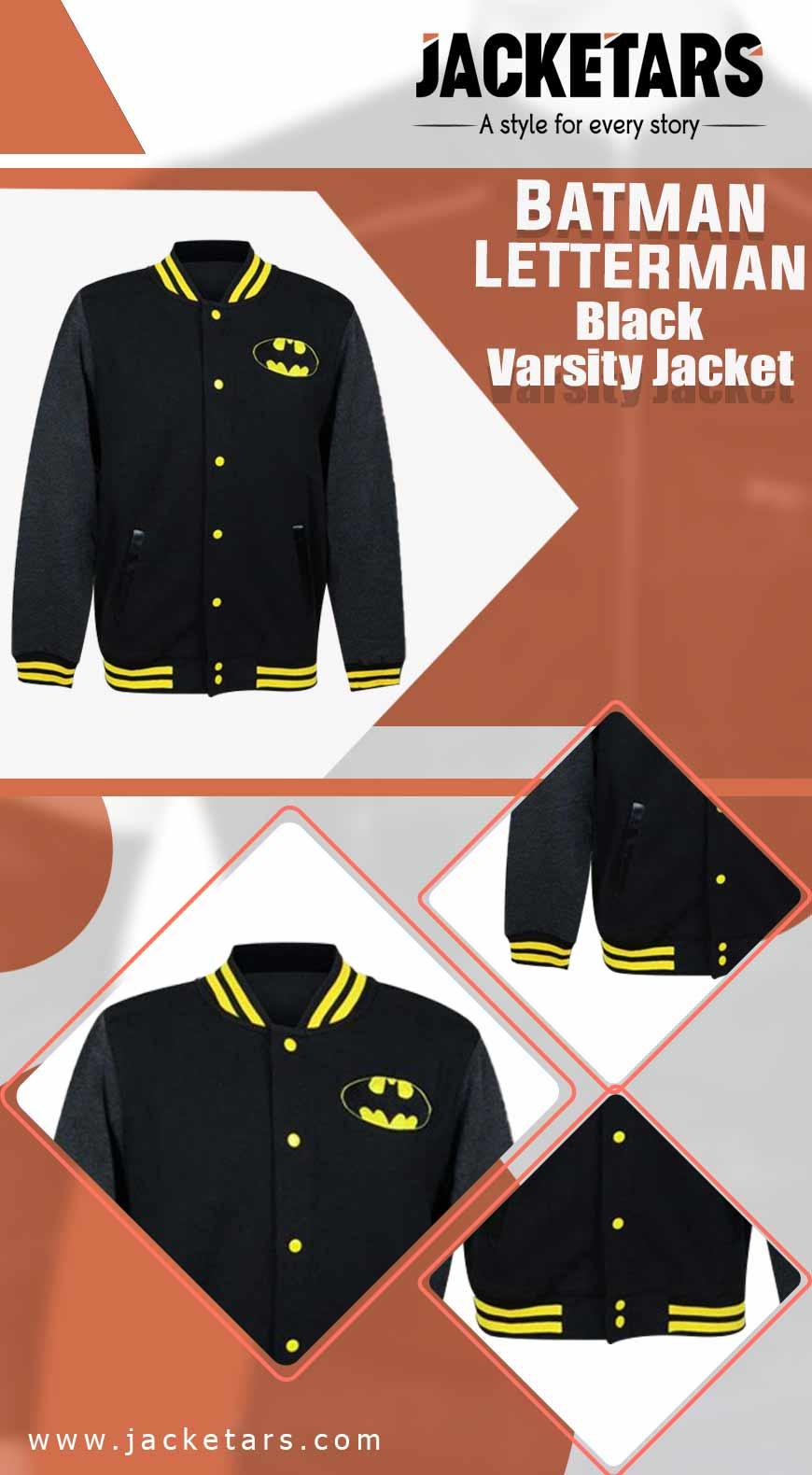 Batman Lettermen Black Varsity Jacket INFO