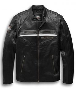 Harley Davidson Men's Llano Perforated Leather Jacket
