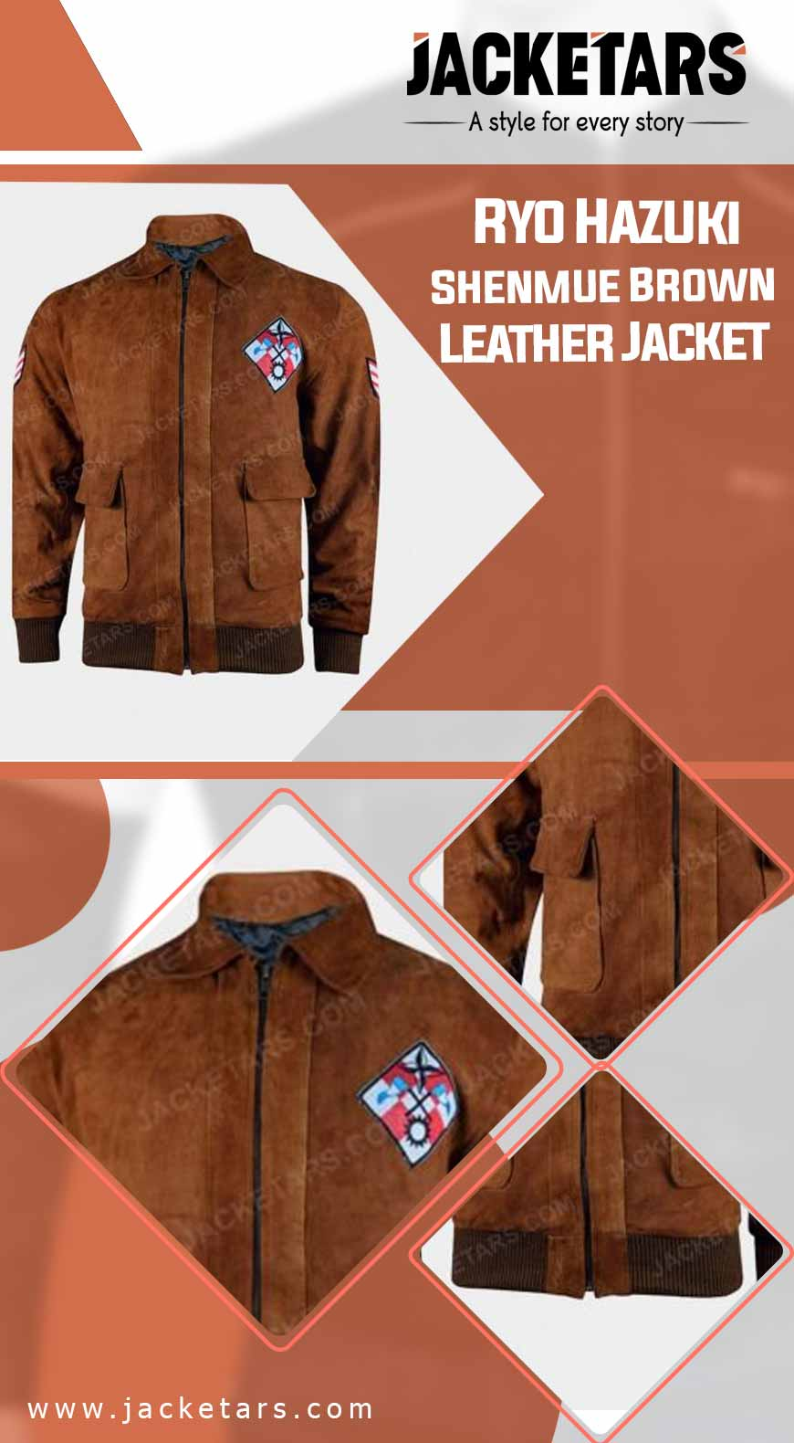 Ryo Hazuki Shenmue Brown Leather Jacket info