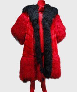 101 Dalmatians Cruella Devil Black and Red Fur Coat