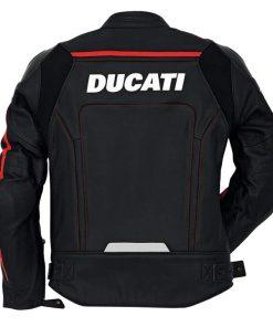 Ducati Corse Motorcycle Black Leather Jacket