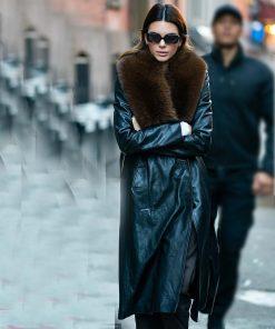 Kendall Jenner Fur Leather Coat