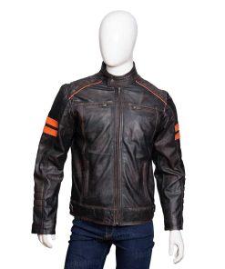 Men Retro Distressed Orange Striped Jacket